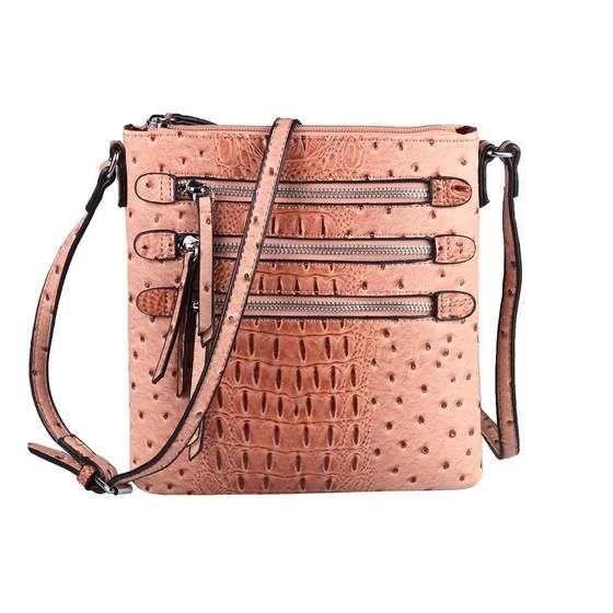 Obc Damen Tasche Kroko Strauss Optik Schultertasche Umhangetasche Crossbody Bag Crossover Leder Optik Abendtasche Altrosa In 2020 Taschen Damen Schultertasche Und Taschen