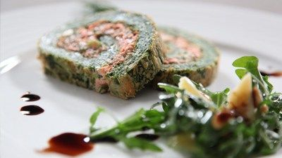 Deb's Spinach & Salmon Herb Roulade from Come Dine with me Australia