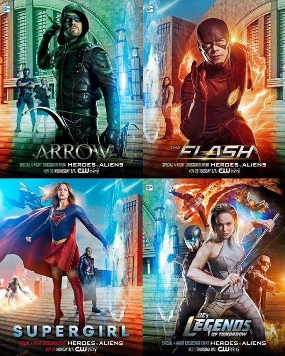 Arrowverse Crossover Supergirl Tomorrow Legends Poster Arrow