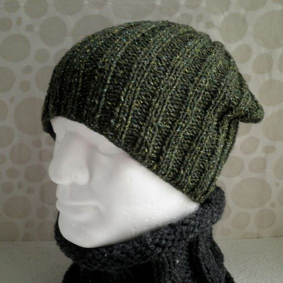 Beginner Hat Knitting Patterns : nathan KNITTING PATTERN for SEATTLE Slouchy Ribbed Hat for Men and Women Easy...