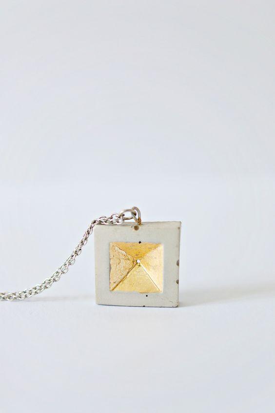 DIY | Concrete & Gold Leaf Pendant