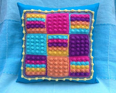 Pillow with bobbly Granny Squares
