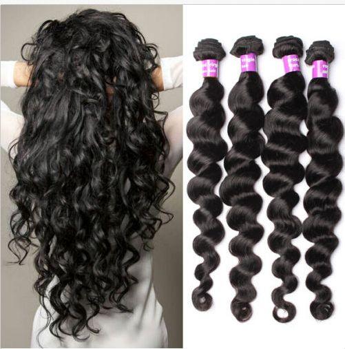 4 Bundles Wavy 100% Brazilian Virgin Hair Weft Loose Wave Hair Extensions Weave