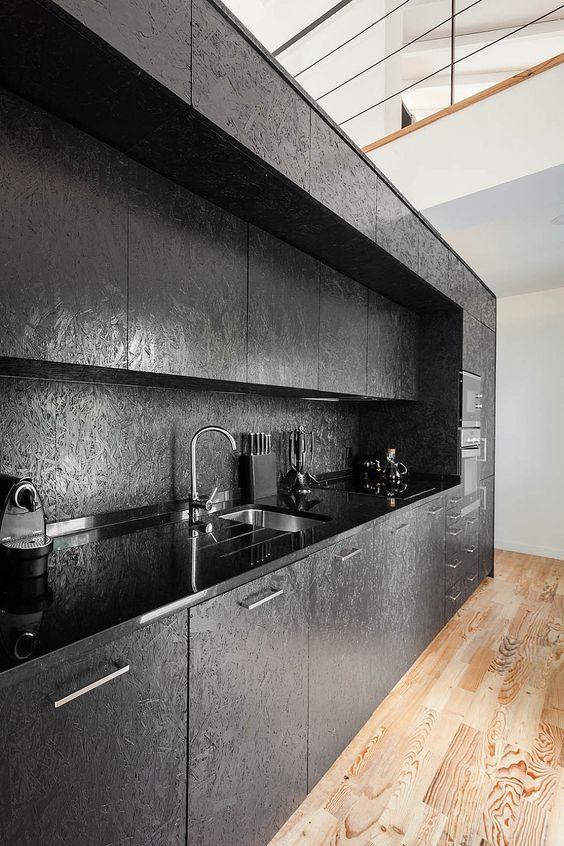 Fantastic use of OSB #wood #black #kitchen