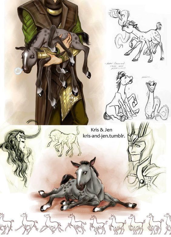 Possibly the cutest version of Sleipnir ever! Sketch.Sleipnir by jen-and-kris on DeviantArt