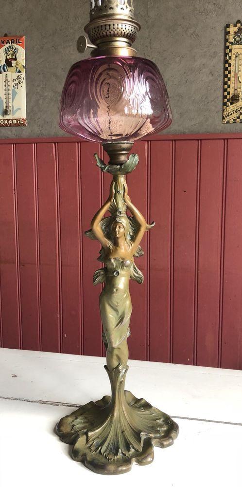 Lampe A Petrole Art Nouveau Signee H Cuzin Art Deco Lamps