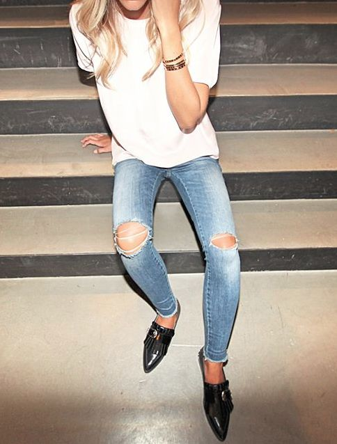 White tee with ripped jeans & loafers.