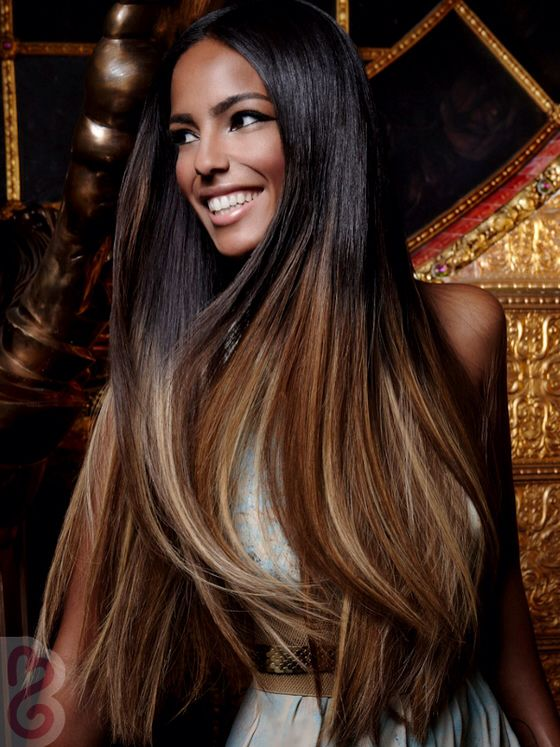 Long Straight Black To Brown Ombre Hair African American