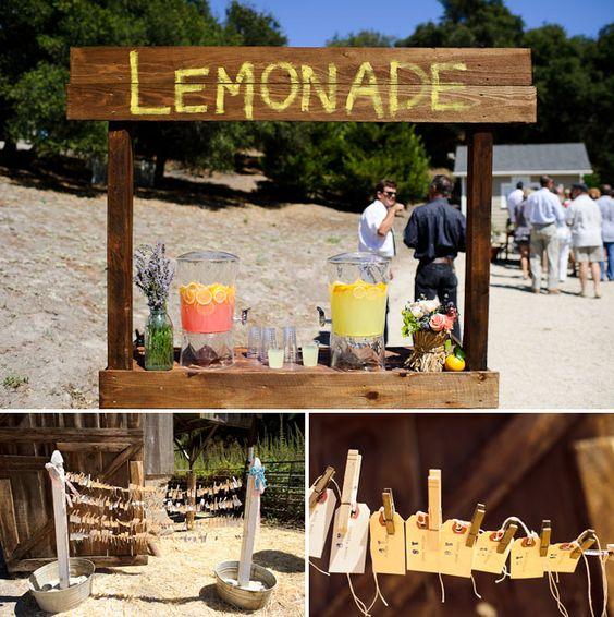 Lemonade stand for a fun summer wedding