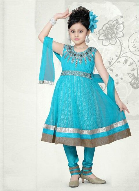 Sky Blue Net Readymade Kids Salwar Kameez