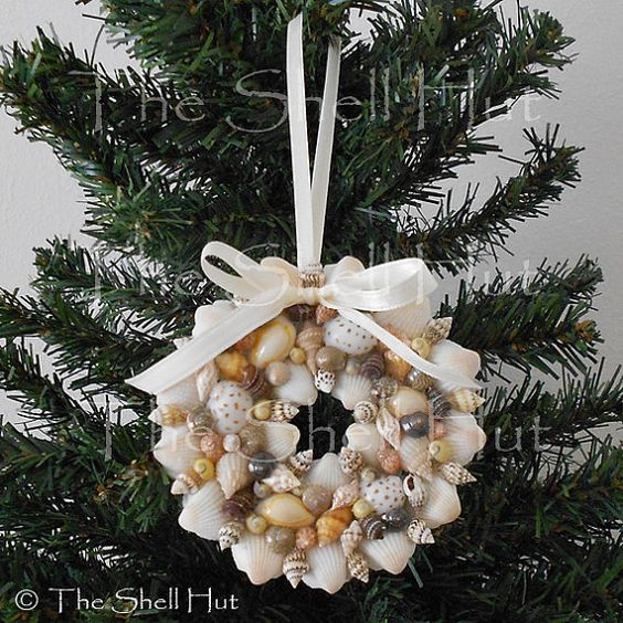 Seashell christmas ornament colorful wreath real shell for Miniature tree decorated with sea shells