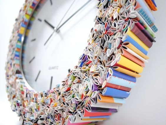 clock wall art made from recycled magazines <3