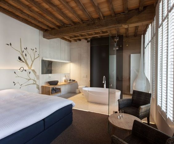 hotel La Suite Sans Cravate realizado por Véronique Bogaert, en Brujas, Bélgica.