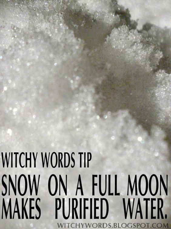 Tip: Full Moon Snow is Purified Water #wicca #moon #fullmoon