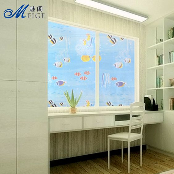 Stained Glass Window Privacy Film with Fishes