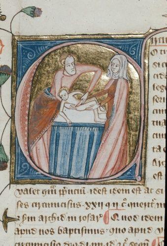 Miniature of a circumcision, London, ca. 1360-75. Source: BL Royal 6E VI