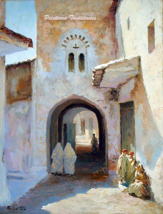 Rachid Talbi Rue En Tunisie Peinture Tunisienne Peinture