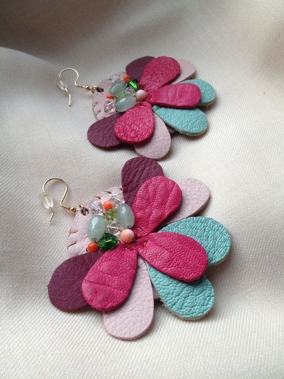 SEEK leather earrings colorful by ArtaLazareva on Etsy