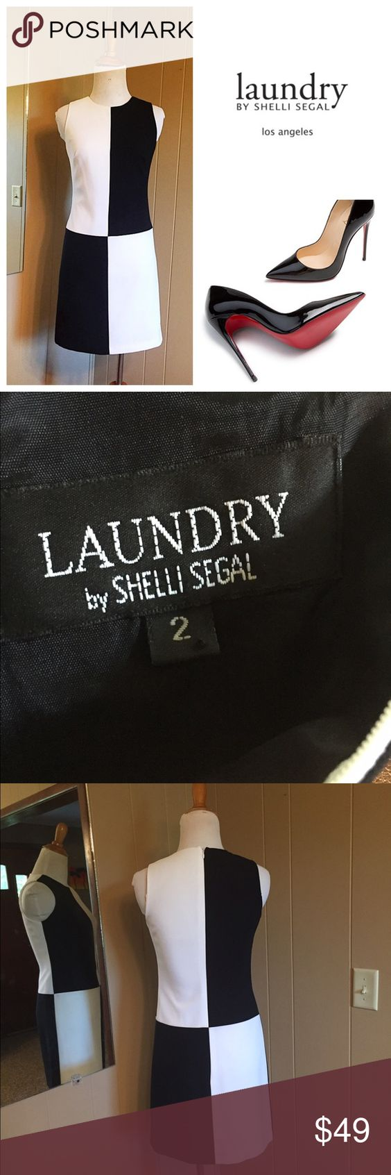 "Laundry by Shelli Segal black & white color block Laundry by Shelli Segal color block dress. Stunning. ""Like New"" condition from no. Smoking home. Fully lined. Polyester. Size 2 Laundry by Shelli Segal Dresses"