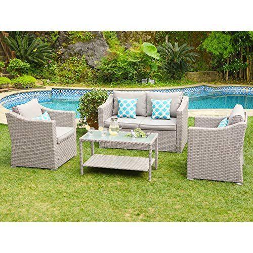 Cosiest 4 Piece Outdoor Furniture Conversation Set Warm Gray Wicker Sectional Sofa W Wa Sectional Patio Furniture Wicker Sectional Outdoor Patio Furniture Sets