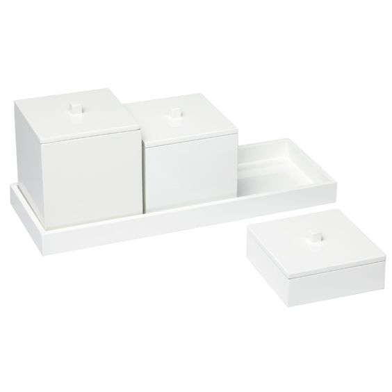White Lacquered Canisters