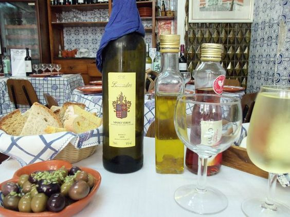 Traditional pre-lunch appetizers in Lisbon. Vinho Verde (green wine) is a must-have in Portugal! 2011
