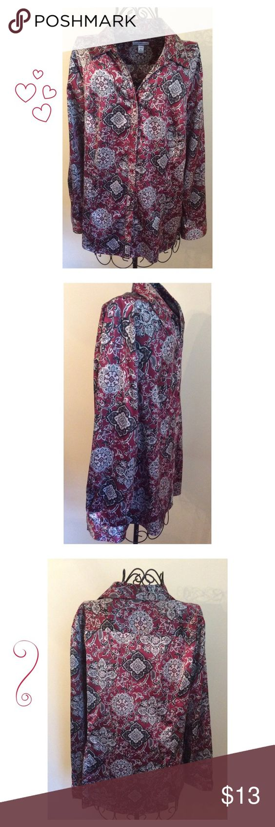 Lovely Dressy Button Down Top This pretty button down top is 97 % Polyester and 3% Spandex.  The colors are Burgandy  and and silver.  The material has a lovely sheen.  Perfect for the office or favorite outing. croft & barrow Tops Blouses