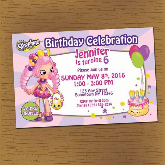 SHOPKINS PARTY Printable Birthday Invitation