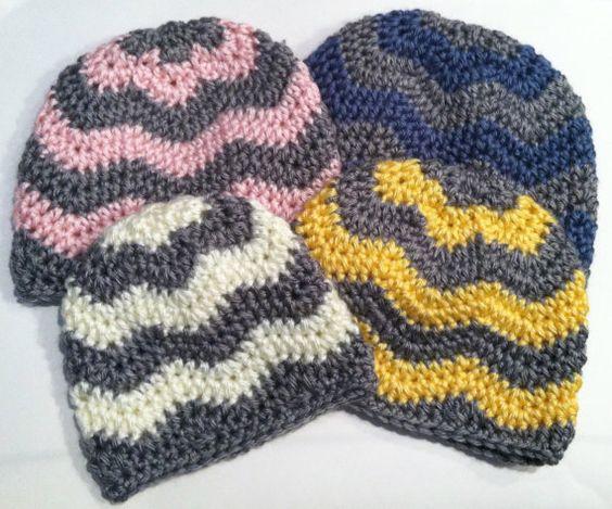Chevron Zig Zag Knitting Pattern : Crochet pattern chevron hat zig zag newborn