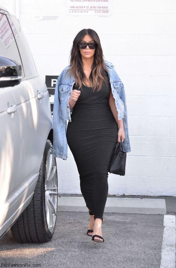 Kim Kardashian Street Style With Denim Jacket And Black Maxi Dress March 2016 Kimkardashian