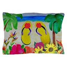 Flowers and Flip Flops Pillow Case