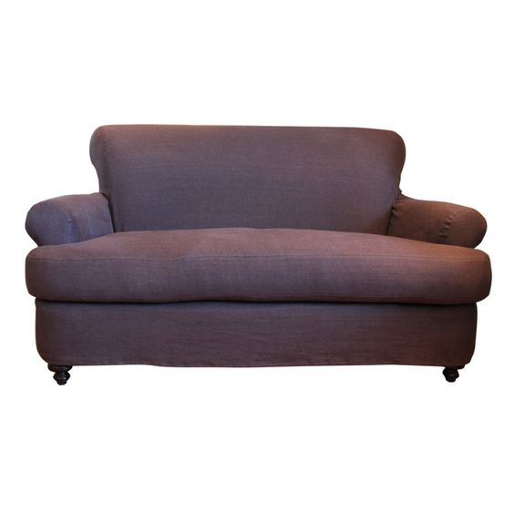 Image of Charcoal Linen Slipcovered Loveseat