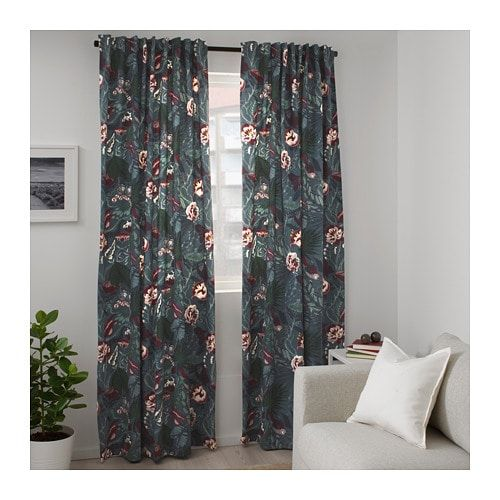 Filodendron Fabric Dark Blue Floral Patterned 59 Ikea