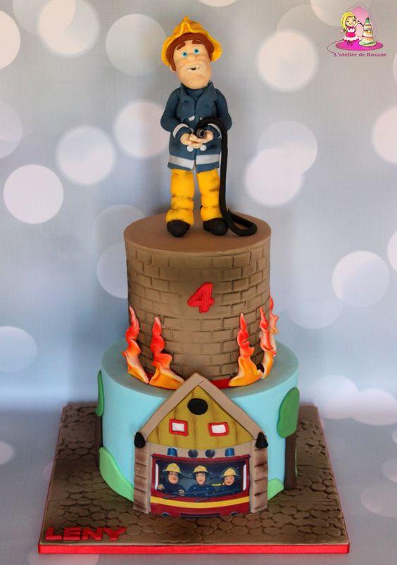 Fireman cake firemen and cakes on pinterest - Deco gateau sam le pompier ...