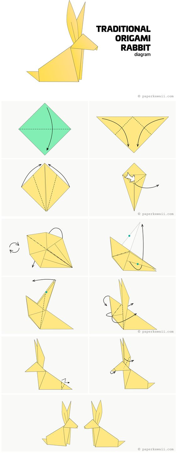 Traditional Origami Bunny Rabbit Diagram - Paper Kawaii #origami #diagram #origamiart