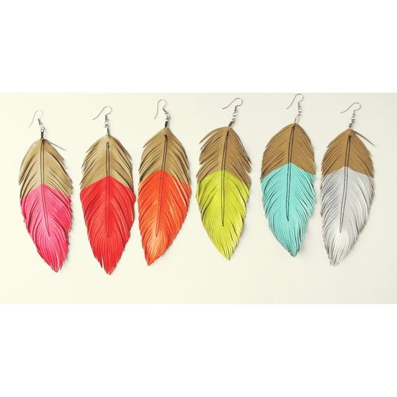 neon leather feather earrings