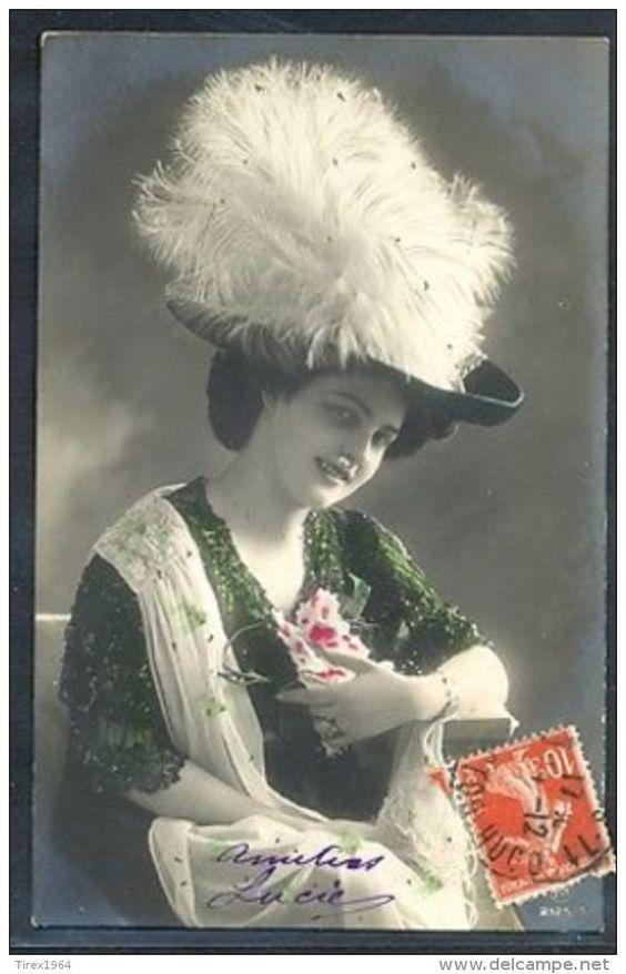 KR012 FEMME CHAPEAU EDWARDIAN LADY Large FEATHER HAT PHOTO D'ART - Fancy Cards