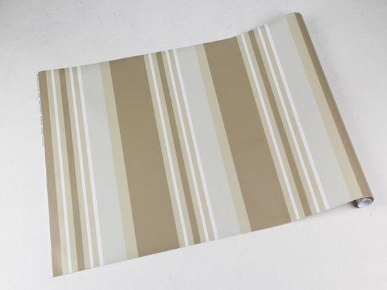 Papel de parede com listras em tons de marrom, bege e cinza - Listrado 126
