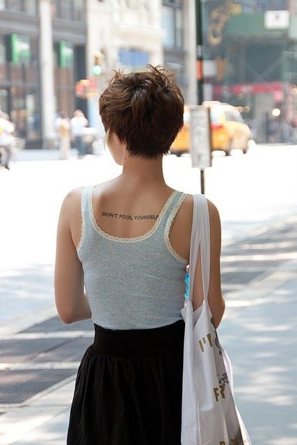 Back of a pixie cut.: