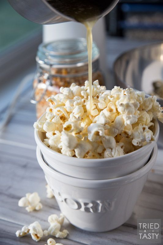 Honey Butter Popcorn Recipe | Tried and Tasty - The kids will flip over this delicious popcorn recipe! You only need five ingredients - and I can almost guarantee you have everything on hand already. Plus, there's no microwave involved - say goodbye to yucky chemicals!