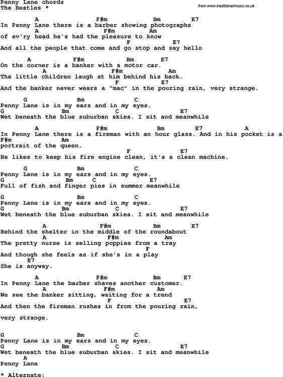 Song Lyrics With Guitar Chords For I Will The Beatles Sheet