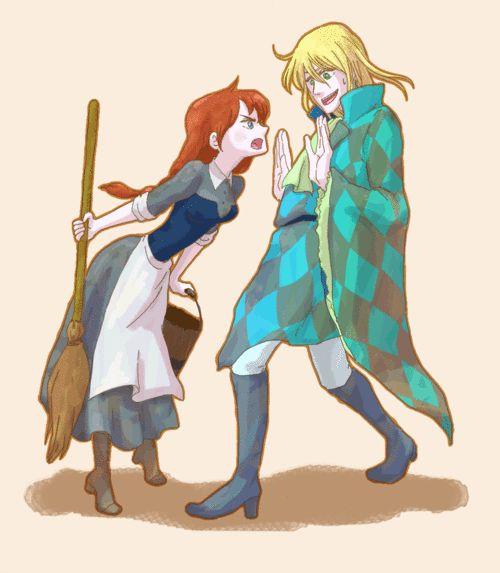 Sophie & Howl how they look in the book. He is even wearing the patchwork blue and silver suit.: