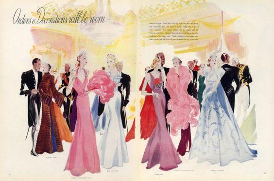 Benigni 1937 Albert Hart, Worth, Eva Lutyens, Hayward, Piguet Evening Gown, Fashion Illustration by Leon Benigni. Image via Pinterest.
