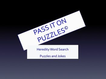Have a little fun reviewing introductory heredity unit vocabulary!   Vocabulary review hybridized with word search puzzle resulting in an answer to a silly joke. $