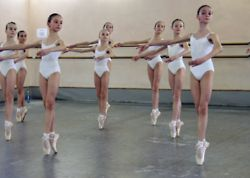 This looks like a Vaganova Academy 1st year class (the girls are 10, maybe 11 years old). All Russian ballet students are screened through a very rigorous audition process -hundreds, maybe thousands of students apply each year and only about 30 boys and girls are selected.