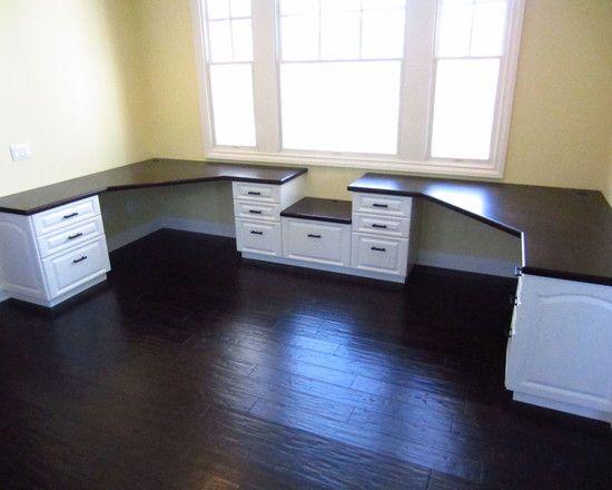 Furniture. u shaped workstation with varnished mahogany ...