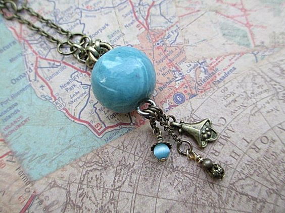 Blue Bead Necklace Artisan Beaded Necklace by LittleBitsOFaith, $27.00