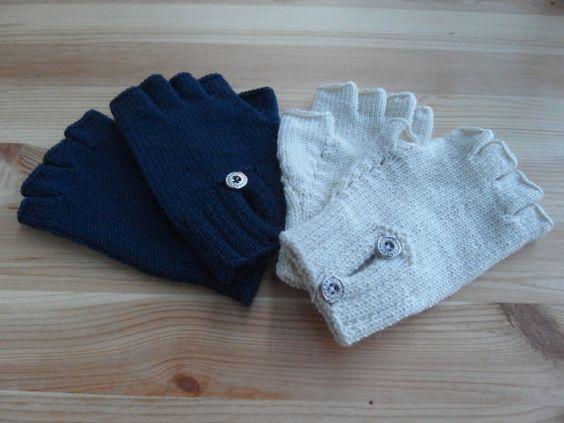 Hand Knitted Half Finger Gloves  Fingerless Gloves by KidsArea