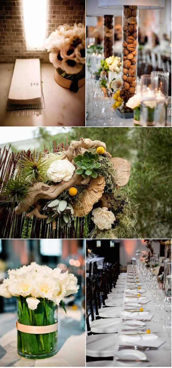 textured, neutral tablescapes! walnuts in glass (cylinder, hurricane, vase) = simple + chic + easy!