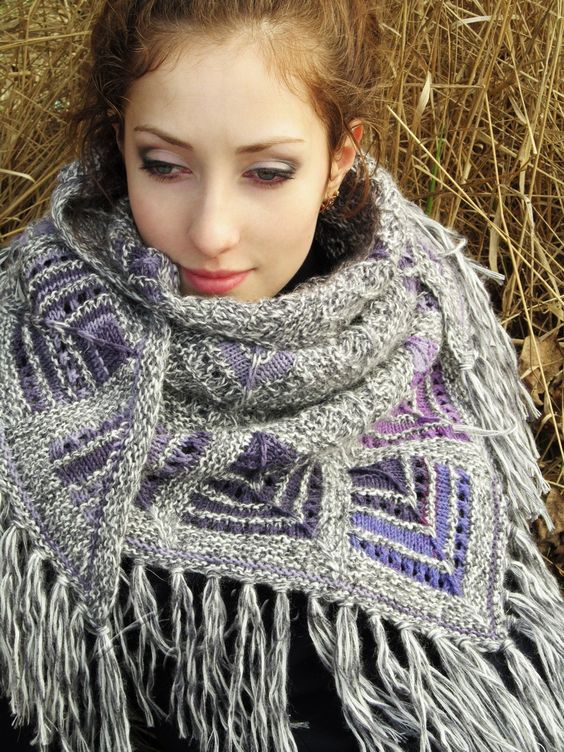 """Voilets in snow"" (knitted shawl, wrap, knitting lace, wool shawl, modular squares, patchwork, stained-glass)"